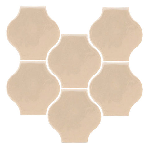 "Clay Arabesque Mini 4""x4"" Pata Grande Tile - Almond"