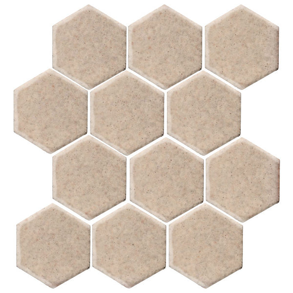 "Clay Arabesque 4"" Hexagon Glazed Ceramic Tile - Bone"
