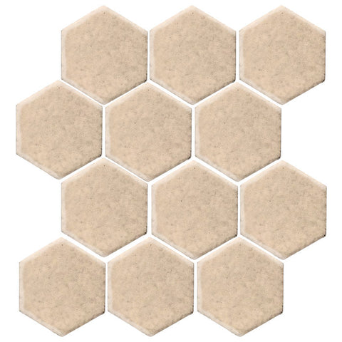 "Clay Arabesque 4"" Hexagon Glazed Ceramic Tile - Almond"