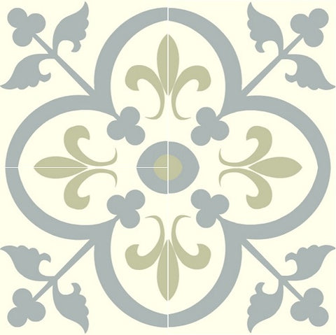 "Fleur-de-Lis in Khaki and Gray Encaustic Cement Tile 8""x8"" - four tiles"