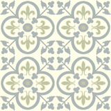 "Fleur-de-Lis in Khaki and Gray Encaustic Cement Tile 8""x8"" Pattern Repeat or Rug"