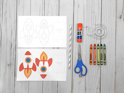 straw rocket - space themed party activity, printable, DIY, kid's craft