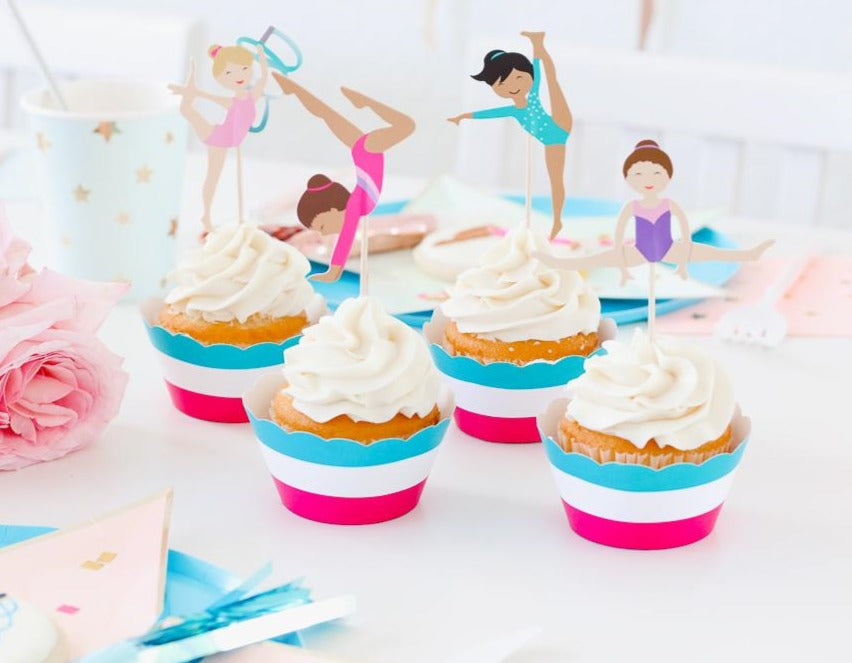 Gymnastics Cupcake Toppers & Wrappers, 12 ct
