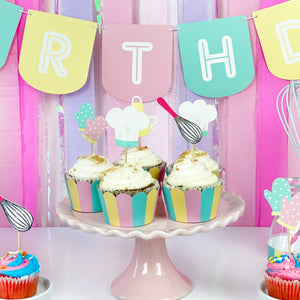 Little Bakers Party - Cupcake Toppers & Wrappers, 12 ct