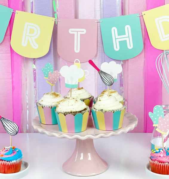 baking party scene with cupcake toppers and happy birthday banner in pastel colors