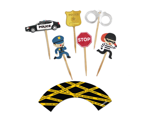 Police Cupcake Toppers & Wrappers, 12 ct
