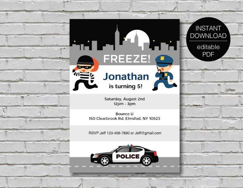 police theme invitation