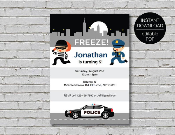 cops and robbers custom digital invitation with illustraded a police officer, robber and a police car