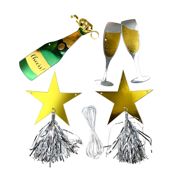 Champagne bottle, champagne glass, gold star banner