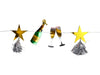 cheers champagne bottle and gold star and tassel garland