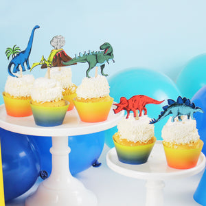 Dinosaur Cupcake Toppers and Wrappers, 12 ct