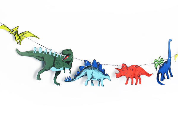 paper dinosaur garland in yellow, red, green and blue