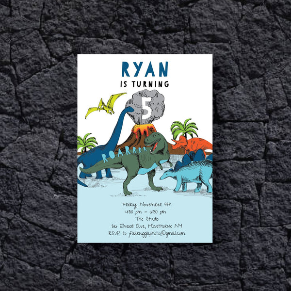 dinosaur invitation card with volcano and 5 different dinosaurs