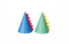 blue cone hat with red dinosuar spikes and green cone hat with yellow spikes