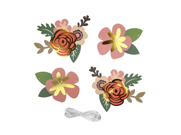 gold and pink paper flower pennants