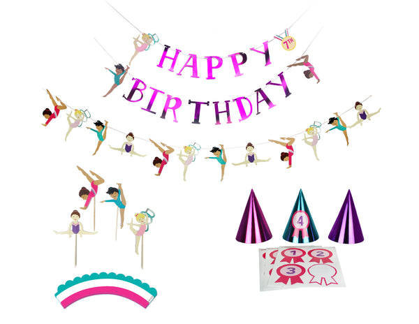 Gymnastics Party - Birthday Party Decoration Kit - 12 guests