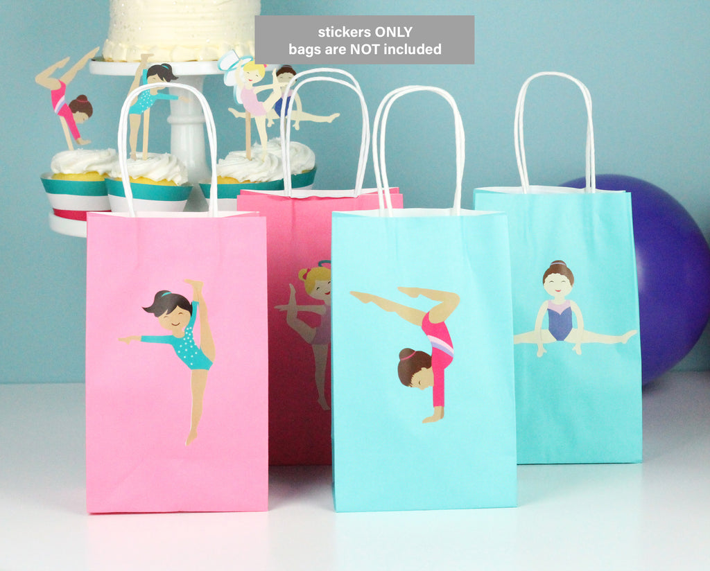 gymnast girl stickers on pink and teal gift bags
