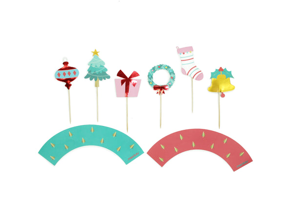 Holly Jolly Christmas - Cupcake Toppers & Wrappers , 12 ct