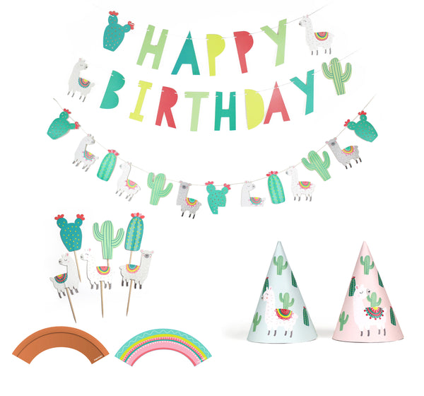 Llama and Cactus Party - Birthday Party Decoration Kit - 12 guests