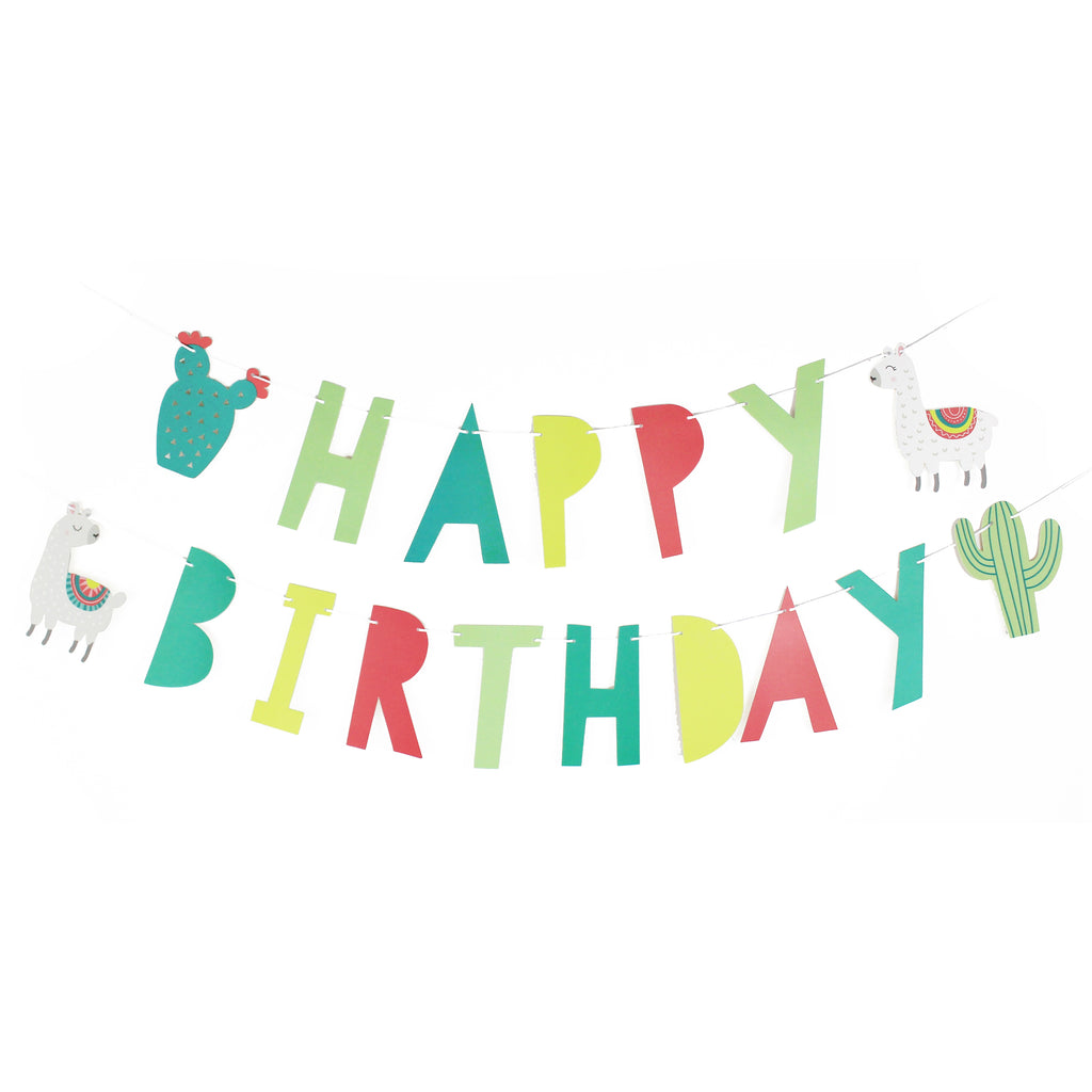 Llama and Cactus - Happy Birthday Banner, Bright Color Birthday Sign