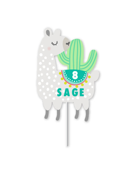 Llama and Cactus Party - Custom Cake Topper