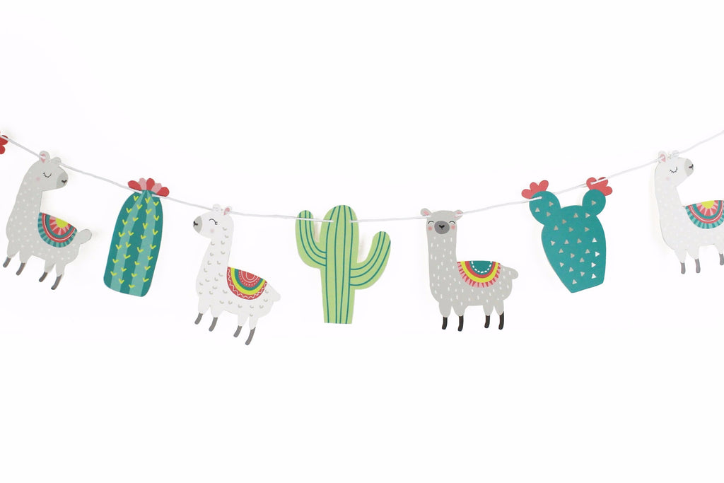 llama and cactus pennants strung on a white string