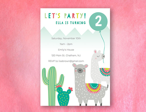 llama and cactus themed digital invitation card