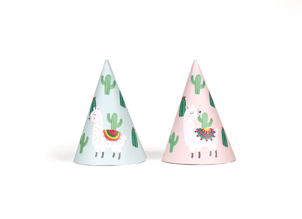 Llama and Cactus Party - Fiesta Summer Party Hats, 12 ct