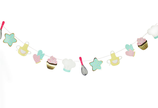 baking themed party garland featuring cupcake, star-shaped cookie, oven mittens, chef hat, whisk and apron