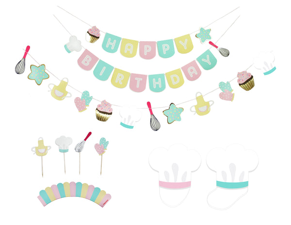 Little Bakers Party - Birthday Party Decoration Kit - 12 guests