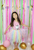 Party banner on colorful backdrop with a girl in pastel rainbow tutu dress