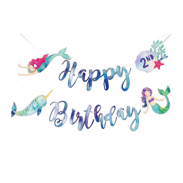 Mermaid and Narwhal Party - Happy Birthday Banner