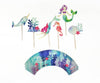 narwhal, mermaid, coral, sea horse, shell cupcake toppers and wrappers with under the sea print