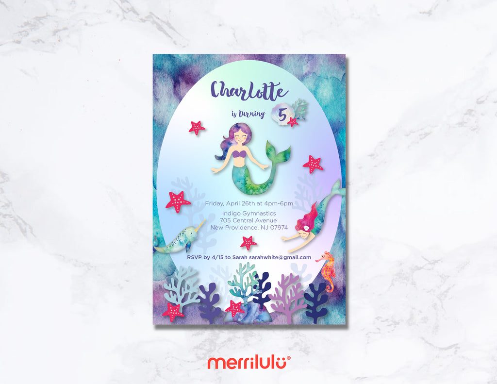 Mermaid Birthday Invitations - Digital