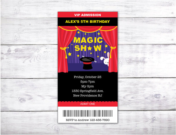 Magic Show party Ticket Custom Invitation with a magician stage illustration