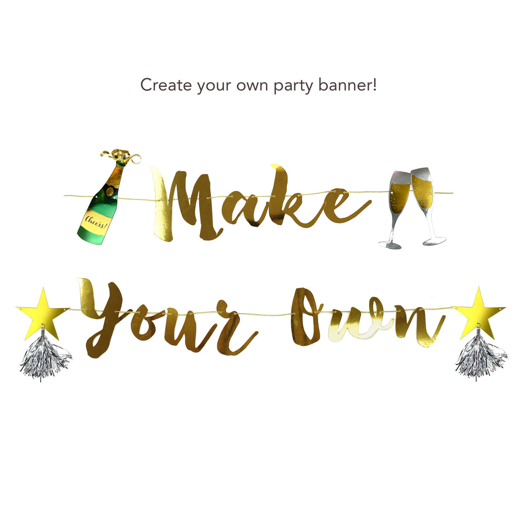 gold make your own banner with champagne bottle pennants
