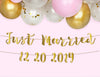 gold just married custom banner in pink background with balloons