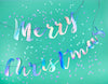 iridescent merry christmas banner on green background