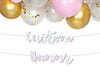 iridescent custom banner with balloons
