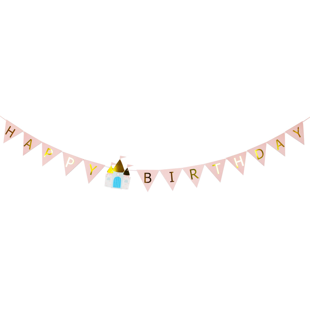 happy birthday banner with a princess castle