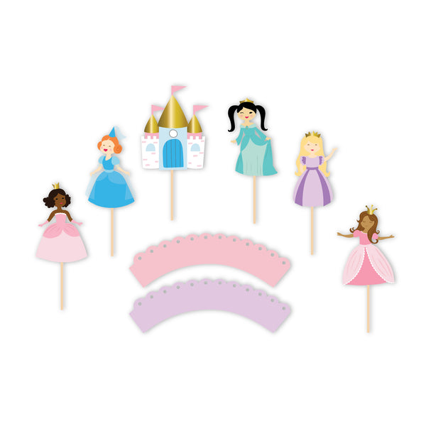 Pretty Princess - Cupcake Toppers & Wrappers, 12 ct