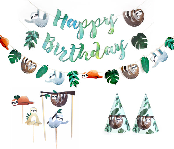 sloth party decorations kit with a happy birthday banner, garland, cupcake toppers and party hats
