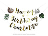 happy birthday charlotte banner in gold with sloth and leaf pennants