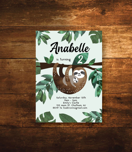 sloth birthday invitations
