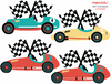 teal, red and yellow race car stickers