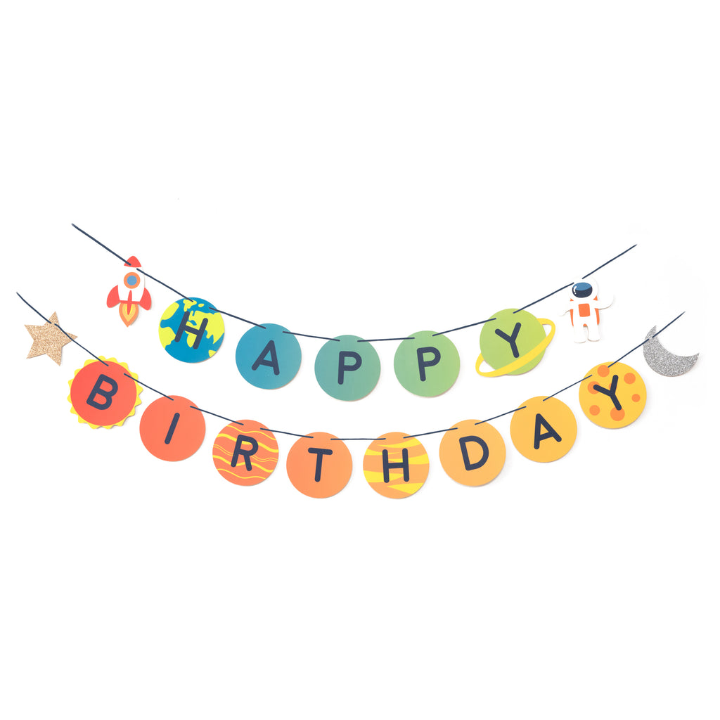happy birthday banner with rocket ship, astronaut, gold glitter star and silver moon pennants