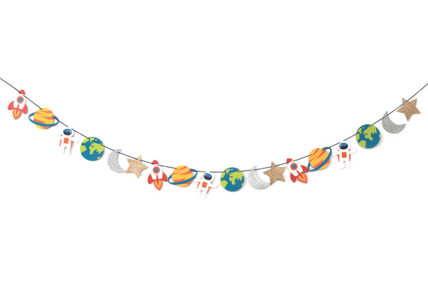 other space themed bunting with astronaut, earth, moon, star, rocket ship and planet