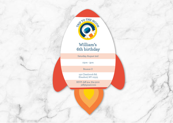 outer space rocket custom digital invitation