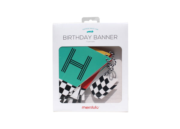 happy birthday banner in red, yellow and teal with checkered flags