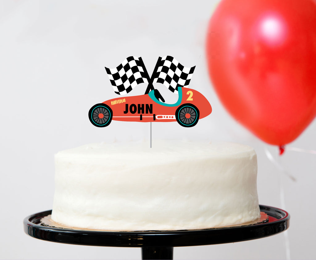 red race car cake topper